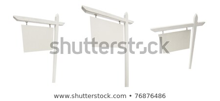 Stockfoto: Set Of 3 Different Angled Blank Real Estate Signs With Clipping