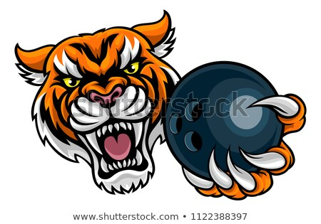 Tiger Holding Bowling Ball Mascot Stock photo © Krisdog
