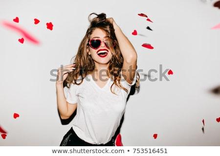 Lachend meisje shirt witte schoonheid tiener Stockfoto © Lupen