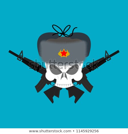 skull in fur hat symbol of specter of communism red emblem of stock photo © popaukropa