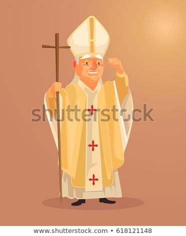 Rajz pápa mosolyog illusztráció férfi boldog Stock fotó © cthoman