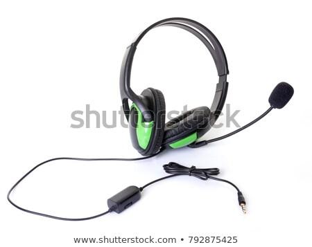 Kulaklık mikro beyaz telefon konuşmacı kask Stok fotoğraf © cynoclub