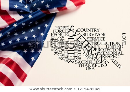 american flags and tag cloud honoring the veterans Stock photo © nito