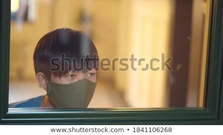 Férfi üveg ajtó afrikai elemlámpa iroda Stock fotó © AndreyPopov