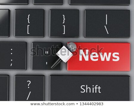 media news   text on yellow keyboard key 3d stock photo © tashatuvango