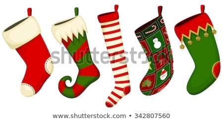 christmas · stencil · kerstboom · retro · kijken · cartoon - stockfoto © beaubelle