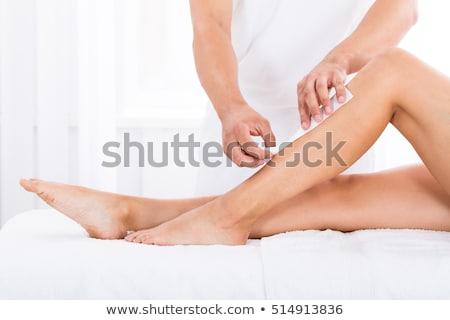 Terapeuta depilação com cera em mão cera homem Foto stock © AndreyPopov