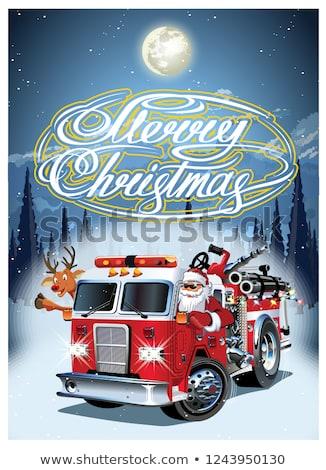 Cartoon Retro Christmas Poster With Firetruck And Santa Claus Stock fotó © Mechanik