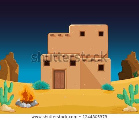 rajz · természet · tájkép · sivatag · izolált · fehér - stock fotó © colematt
