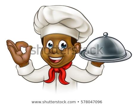 African American Chef Baker Mascot Stock photo © patrimonio