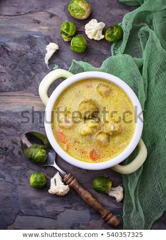 クリーム · スープ · プレート · 野菜スープ · 緑 · 白 - ストックフォト © yuliyagontar
