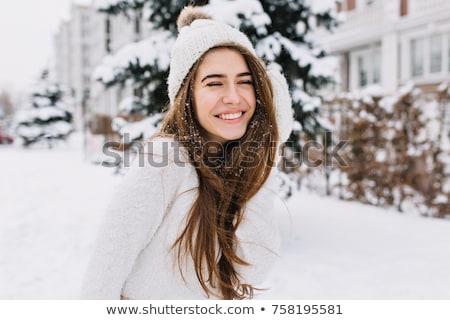 улыбаясь девушки весело улице зима красный Сток-фото © Stasia04
