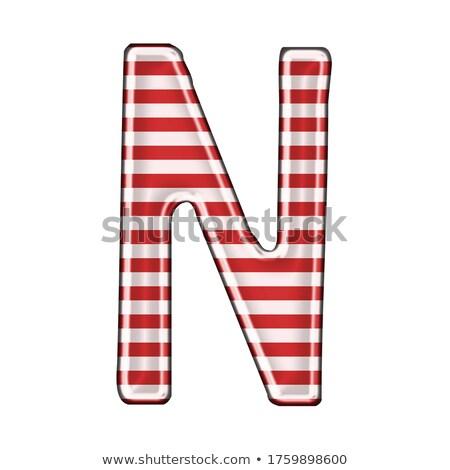 Fém piros vonalak betűtípus n betű 3D Stock fotó © djmilic