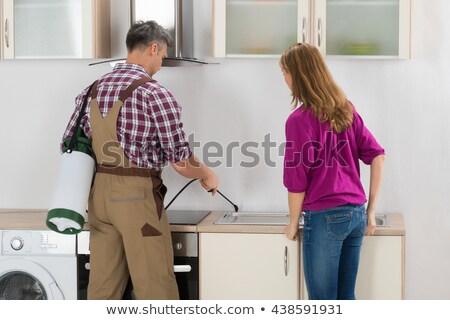 Foto stock: Mujer · trabajador · cocina · antorcha · hombre