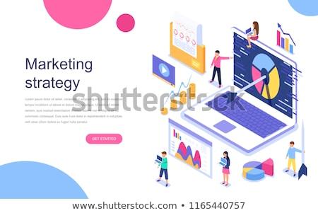 social media marketing isometric 3d landing page stock photo © rastudio
