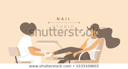 Pedicure massagem pôsteres vetor manicure conjunto Foto stock © robuart