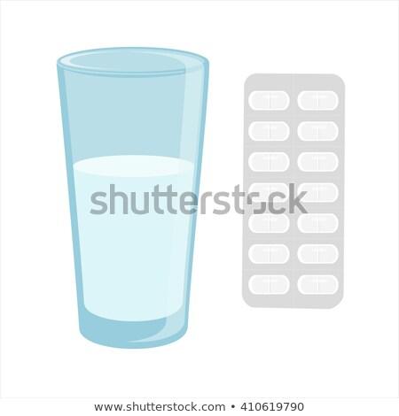 Tıp cam su tıbbi mavi içmek Stok fotoğraf © inxti