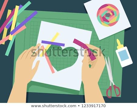 Handen iris illustratie gekleurd papier Stockfoto © lenm