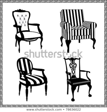 Set antiken Stühle Silhouetten Sammlung unterschiedlich Stock foto © ElaK