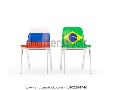 Two chairs with flags of Brazil and russia Stock photo © MikhailMishchenko