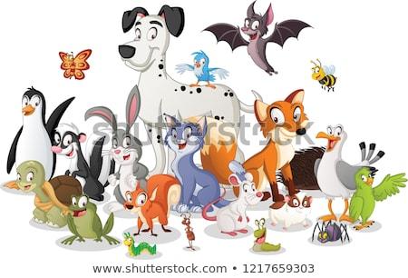 Boldog kaméleon rajzolt állat karakter rajz illusztráció Stock fotó © izakowski