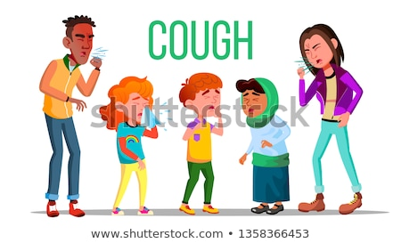 Cough People Vector. Coughing Concept. Sick Child, Teen. Sneeze Person. Virus, Illness. Illustration Stock photo © pikepicture