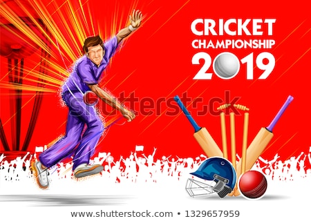 Bowler bowling in game of cricket championship sports 2019 Stock photo © vectomart