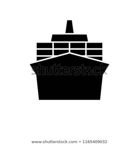 Navio porta-contentores ícone ver preto e branco negócio Foto stock © angelp