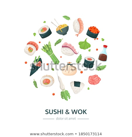 sushi and wok   flat design style colorful illustration stock photo © decorwithme