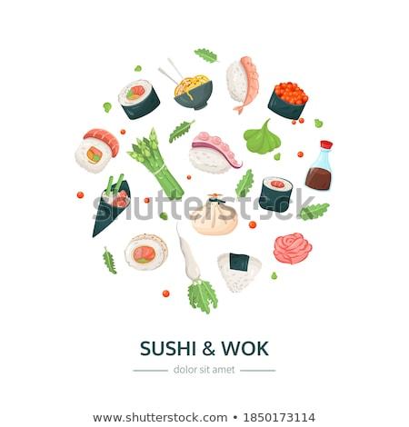 Stock fotó: Szusi · wok · terv · stílus · színes · illusztráció