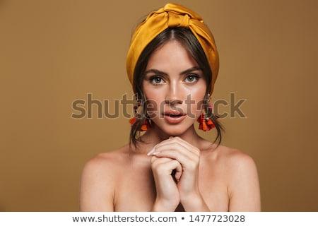 довольно · девушки · оранжевый · подушка · изолированный - Сток-фото © deandrobot