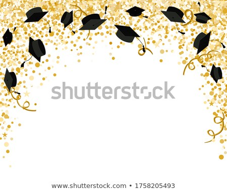 Graduation party invitation card with golden confetti, glitter, graduation cap, and black background Stock photo © ikopylov