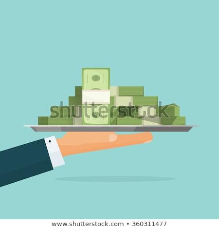 hand · dienblad · geld · zakenman · bank - stockfoto © biv