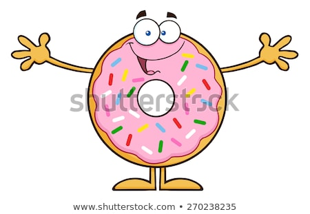 Stock photo: Chocolate Donut Cartoon Character With Sprinkles Wanting A Hug