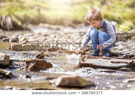 Chłopców gry banki staw wody domu Zdjęcia stock © ElenaBatkova