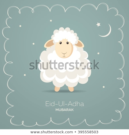 Sign template with cute sheeps Stock photo © colematt