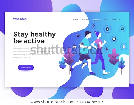 Fitness Web Page Template, Sport and Exercise Stock photo © robuart
