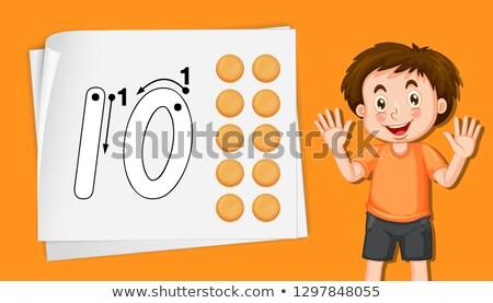 Aantal tien achtergrond schrijven kid foto Stockfoto © colematt