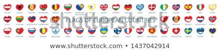 Stock fotó: Gyűjtemény · vektor · zászlók · Európa · űrlap · szívek