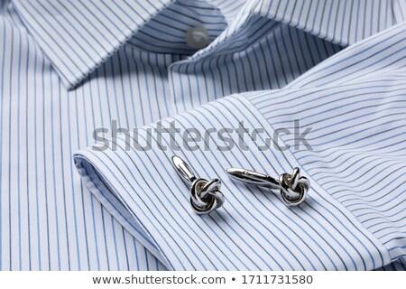 Kék csíkos póló közelkép üzlet fém Stock fotó © caimacanul