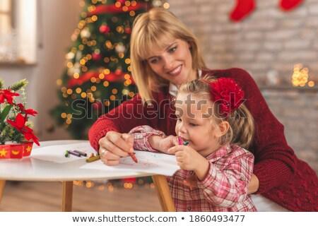 Incinta madre figlia disegno home gravidanza Foto d'archivio © dolgachov