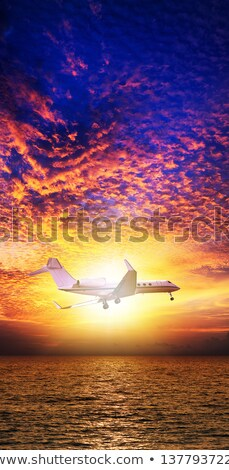 luxury private jet over the sea at sunset time stock photo © moses