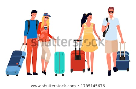 friends company going on vacation together vector stock photo © robuart
