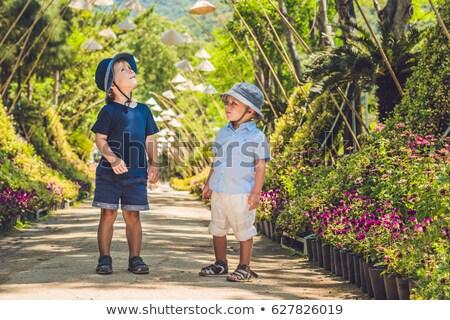 Two boys, a traveler in Vietnam against the backdrop of Vietnamese hats Stock photo © galitskaya