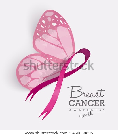 breast cancer awareness pink butterfly wing ribbon stock photo © cienpies