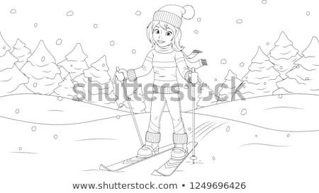 Lány sí rajz kifestőkönyv oldal feketefehér Stock fotó © izakowski