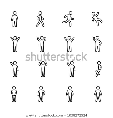 Man in Running Action Icon Vector Outline Illustration Stock photo © pikepicture