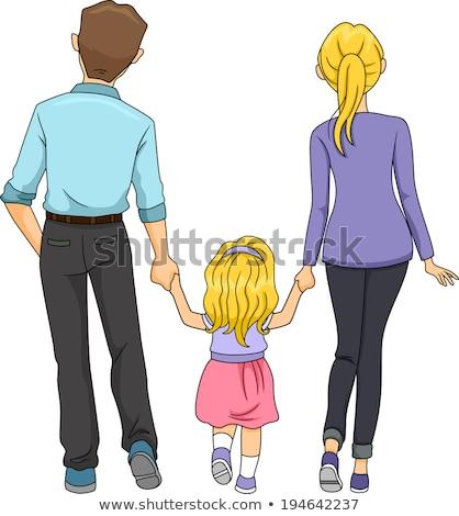 Anya lánygyermek hátulnézet izolált rajzolt emberek vektor Stock fotó © robuart