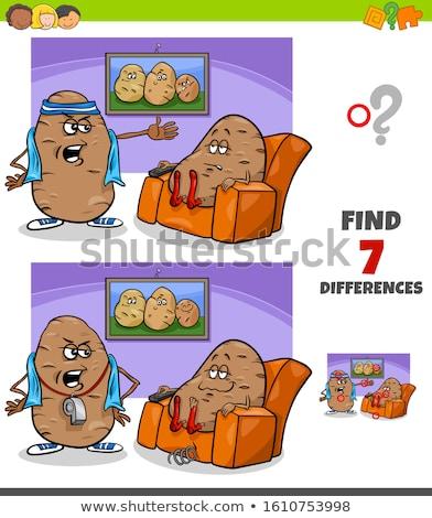Farklılıklar oyun kanepe patates atasözü karikatür Stok fotoğraf © izakowski
