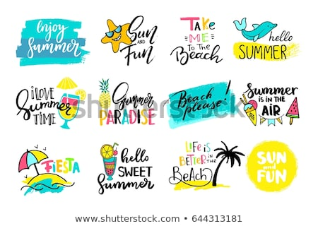 beach theme summer holiday sticker label set Stock photo © vector1st